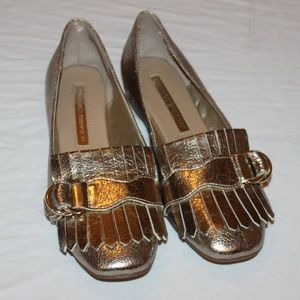 Audrey Brooke Gold Flat Loafers Size 6.5M